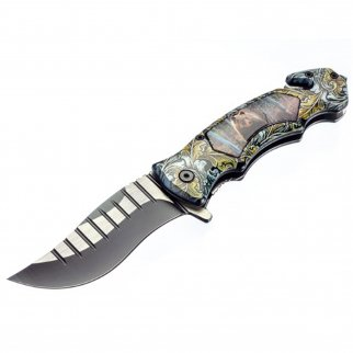 ASR Outdoor Clip Point Blade Pocket Knife 5 Inch Window Punch Grizzly Bear