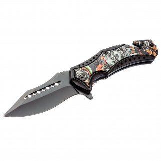 ASR Outdoor Clip Point Blade Pocket Knife 4.75 Inch Window Punch Zombie Flower