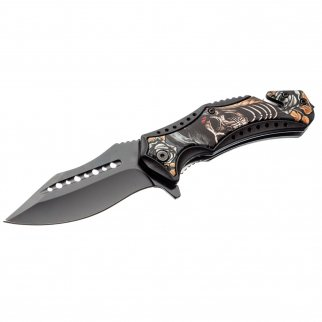 ASR Outdoor Clip Point Blade Pocket Knife 4.75 Inch Window Punch Skeleton Pirate