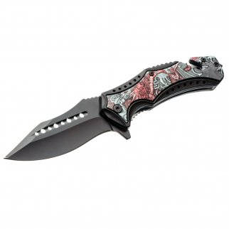 ASR Outdoor Clip Point Pocket Knife Red Dragon Design