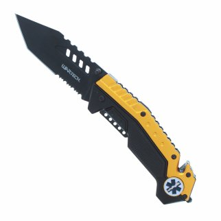 ASR Outdoor EMS Emblem Pocket Knife Spring Assisted Serrated Tanto Blade Orange