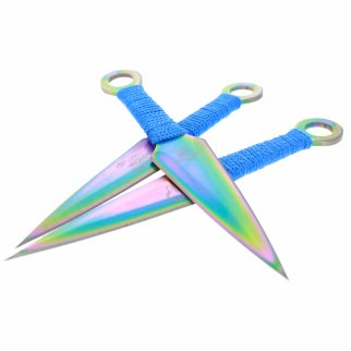 3pc 6.5 Inch Ninja 440 Stainless Steel Throwing Knives - Rainbow