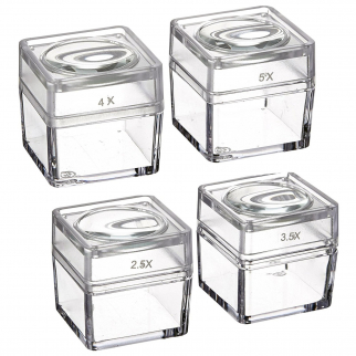 SE MB2345-4 Snap-On Magnifier Cubes with Interchangeable Lids (Set of 4)