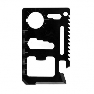 11 in 1 Pocket Survival Black Credit Card Multi Tool with Carrying Case - 20 Pack