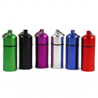 ID Pill Holder Key Chain Canister O Ring Cap Assorted Colors