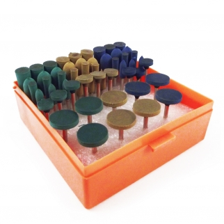 54pc 1/8 Inch Shank Rubber Abrasive Rotary Set - Assorted Shapes and Grits