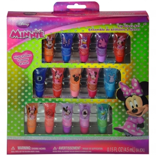 Minnie Mouse Disney licensed 15Pk .15oz Tubes Fruit Flavored Lip Gloss Dress Up Pretend Play Cosmetic Set Retail1