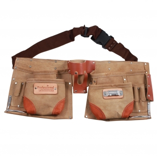 Deluxe Tool Belt Suede Leather 12 Pocket Heavy Duty Carpenter, Construction, and Home Improvement Storage Pouch