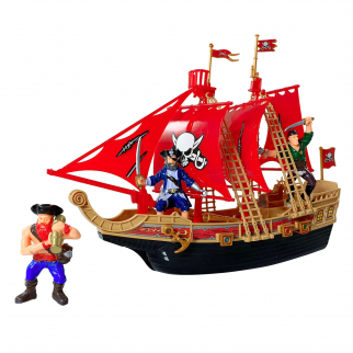 KidPlay Products Kids Light Up Pirate Ship Adventure Toy Real Sounds - Red