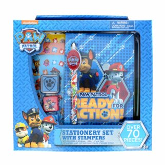 Paw Patrol Mighty Pups Kids Blue Stationary Set with Stamps
