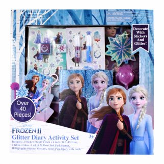 Disney Frozen 2 Girls Glittery Diary Activity Gift Set 40pcs