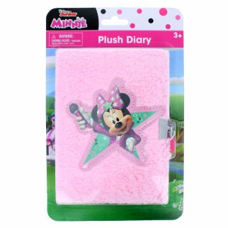 Disney Minnie Mouse Plush Furry Writing Diary Journal Keys