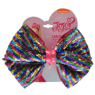 JoJo Siwa Girls Large Hair Bow - Reversible Rainbow Sequins