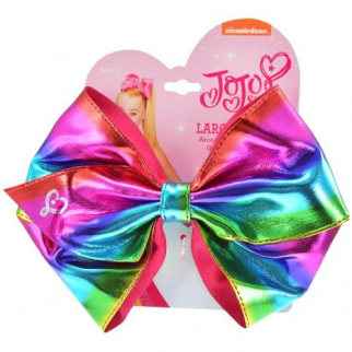 Nickelodeon JoJo Siwa Girls Large Ponytail Hair Tie Bow Metallic Rainbow Style