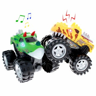 TychoTyke Kids Friction Power Monster Truck 2pk Green Yellow