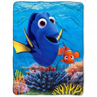 Disney Pixar Finding Dory Fleece Throw Blanket for Kid's Bedroom or Playroom