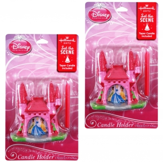 2pk Disney Princess 3D Candle Holder with Candle Set for Princess Themed Parties Retail Packaging