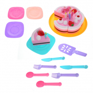 KidPlay Pretend Play Birthday Party Playfood Cake Set with Utensils - 26 Pieces