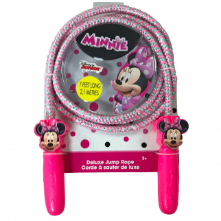 Disney Minnie Mouse Deluxe Jump Rope Molded Handles 7ft Promotes Exercise Pink