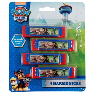 Nickelodeon Paw Patrol Chase, Ryder, Rubble, Marshall Mini Harmonica 4 Pack Kids Music Instrument Party Favor