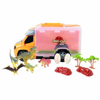 Electronic Light Up Jurassic Dinosaur Transport Truck Toy Orange