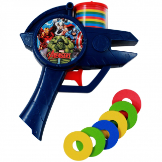 6pc Marvel Avengers Soft Foam Disc Shooter Blue Blaster