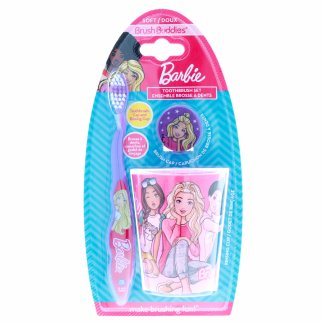 Barbie Soft Bristle Toothbrush Cap And Rinsing Cup Brush Set