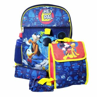 Mickey Mouse Backpack 5pc Set Lunch Bag Pencil Pouch Water Bottle Cinch Sack