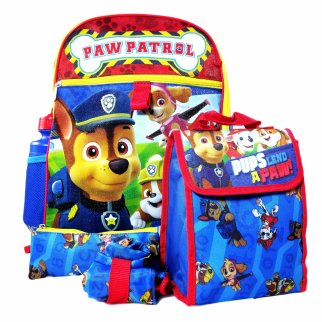 Paw Patrol Backpack 5pc Set Lunch Bag Pencil Pouch Water Bottle Cinch Sack
