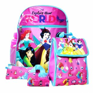 Disney Princess Backpack 5pc Set Lunch Bag Pencil Pouch Water Bottle Cinch Sack
