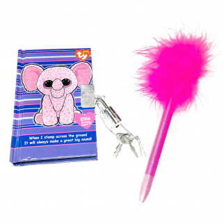 TY Beanie Boos Pocket Mini Diary with Fluffy Pen Ellie the Elephant