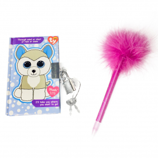 TY Beanie Boos Slush the Husky Pocket Mini Diary with Pen