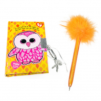TY Beanie Boos Pocket Mini Diary with Fluffy Pen Pinky the Owl