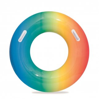 TychoTyke H2O GO Inflatable Swim Ring Rainbow Ombre Outdoor Toy Kids and Adults