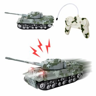 TychoTyke Kids RC Battle Tank Toy Vehicle Play Set Gray Camo