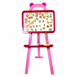 Kids Easel With Magnetic Lettering Chalkboard Function Pink