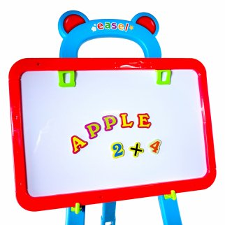 Kids Easel With Magnetic Lettering and Chalkboard Function