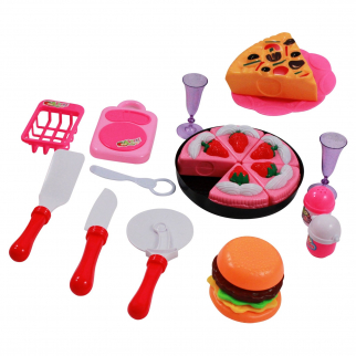 Kidfun Pretend Play Kitchen Playhouse Dessert Chef Pink Toy Set - Cake