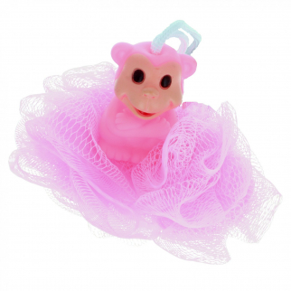 KidPlay Products - Rubber Animal Bath Scrubber - Pink Monkey