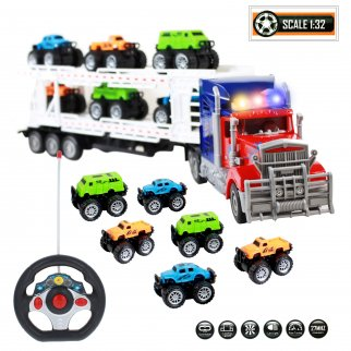TychoTyke Remote Control Truck Car Hauler Trailer Set 8 Pc