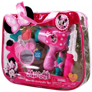 Minnie Mouse Disney Girls Hair Dryer Curler Mirror Dress Up Kit