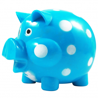 KidPlay Polka Dot Coin Bank Kids Piggy Bank Bedroom Home Decor - Blue
