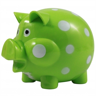Green and White Polka Dot Kids Coin Saving Piggy Bank