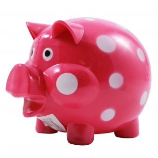 Pink and White Polka Dot Kids Coin Saving Piggy Bank
