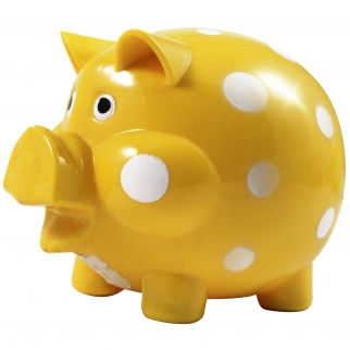 Yellow and White Polka Dot Kids Coin Saving Piggy Bank