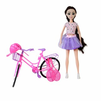Brunette Doll Play Set With Pink Purple Bike And Sports Set