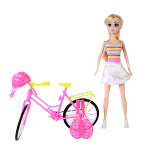 Blonde Doll Play Set With Pink Yellow Bike And Sports Items