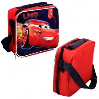 Pixar Cars 3 lunch bag front and side angle view.