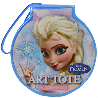 Disney Frozen Queen Elsa Girls Travel Circle Art Case 21 piece Kit