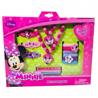 Disney Minnie Mouse 15 PC Accessory Set Pretend Play Dress Up Jewelry Fantasy